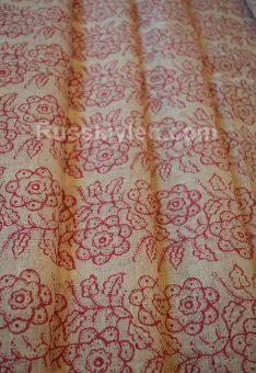 Ткань лен 100% Красные гирлянды цветов 115 см
