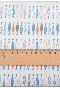 Ткань сатин Китай рыбки разноцветные