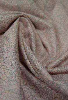 Ткань сатин китай листики на розовом