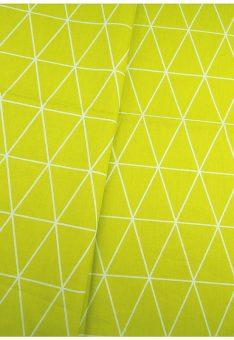 Ткань сатин Китай салатовая геометрия