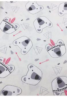 Ткань хлопок Китай Мишки индейцы на белом
