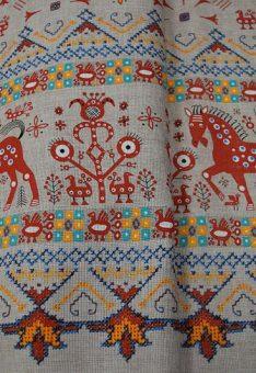 Ткань хлопок рогожка Русские лошадки