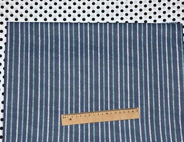 Ткань сатин геометрия Китай полоска на синем