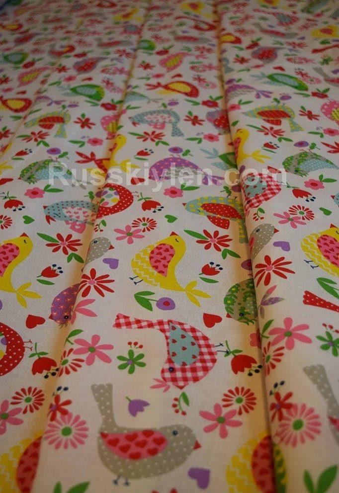 Ткань Хлопок Бязь Рис. Разноцветные птички на белом