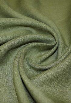 Ткань 100% лен оливковый костюмный однотонный 150 см