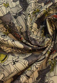 Ткань хлопок детская Китай лисы на сером
