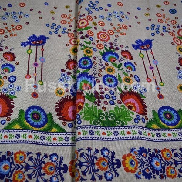 Ткань городецкая роспись