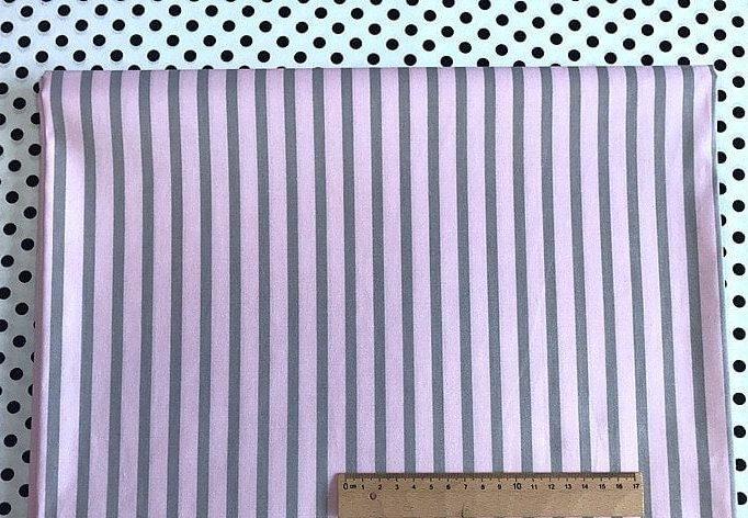 Ткань хлопок геометрия Китай серо-розовая полоска