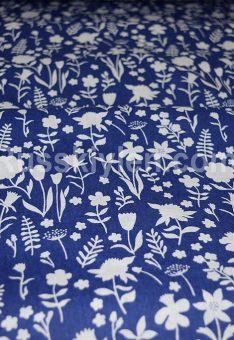 Ткань хлопок бязь Полевые цветы на синем