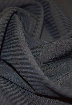 Ткань полушерстяная костюмная Черная в полосочку Италия 150 см ширина
