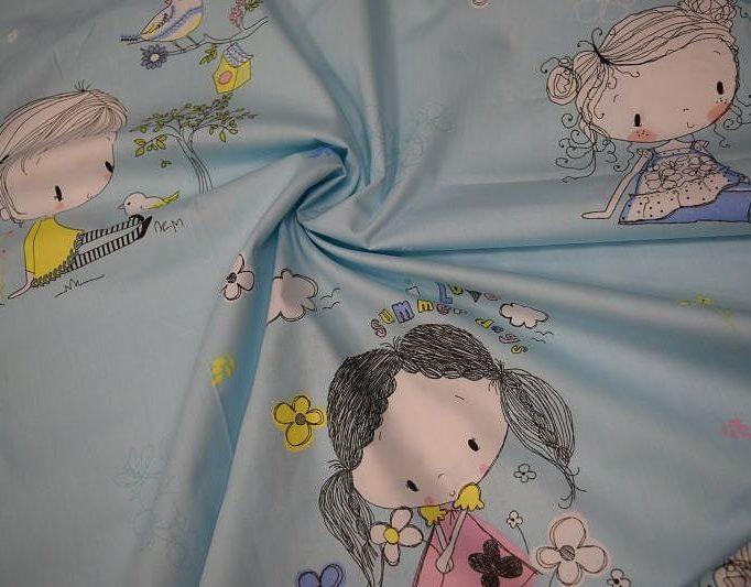 Ткань хлопок Китай Девочки на голубом