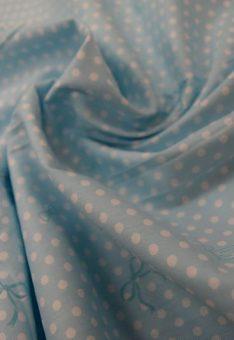 Ткань хлопок геометрия Китай горошек голубой с бантиками
