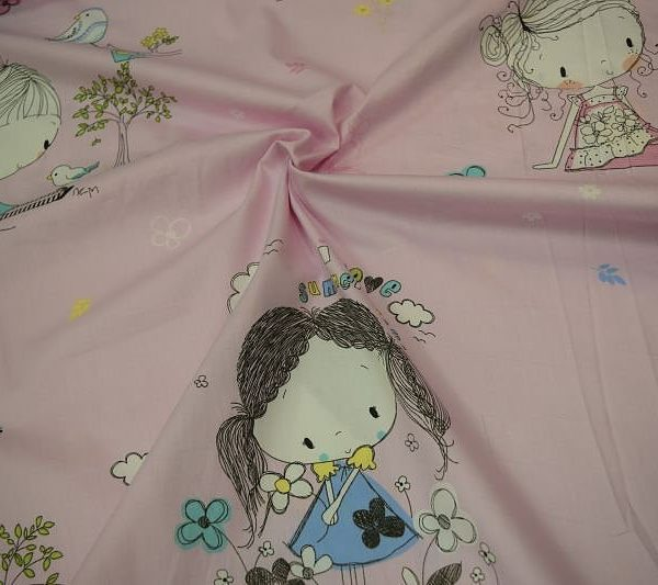 Ткань сатин Китай девочки на розовом