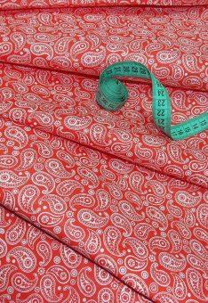 Ткань Хлопок Бязь Рис. Огурцы красный