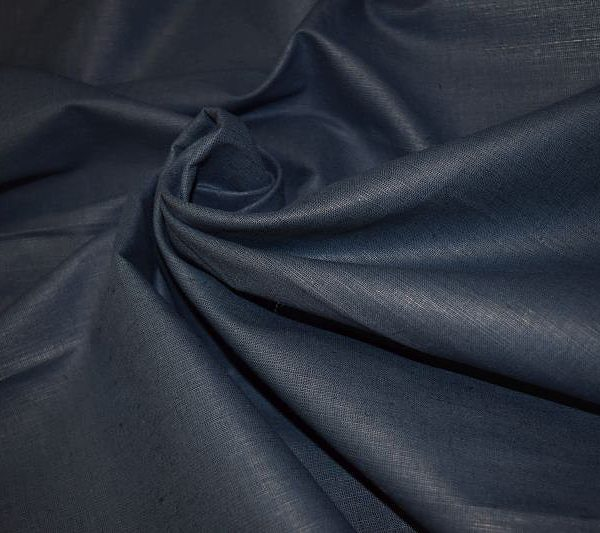 Ткань лен полулен Темно-синий однотонный 150 см