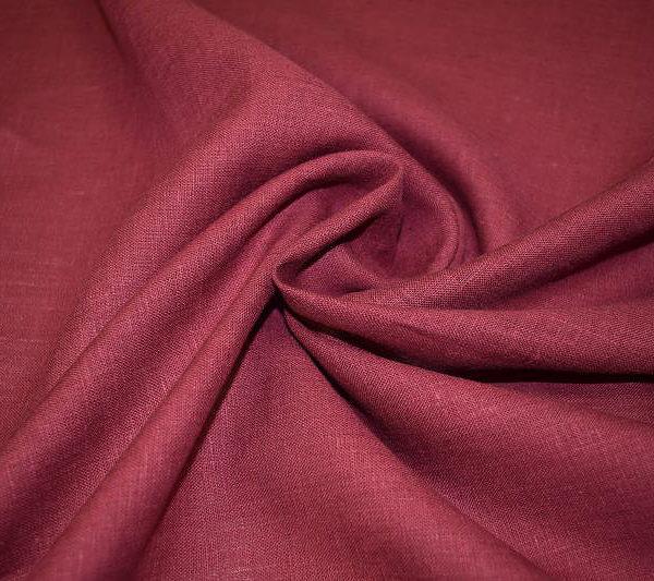Ткань 100% лен бордовый однотонный костюмный 150 см