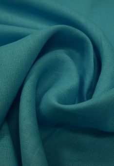 Ткань 100% лен ярко-голубой однотонный костюмный 150 см