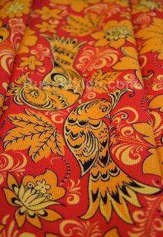 Ткань Хохлома хлопок рогожка