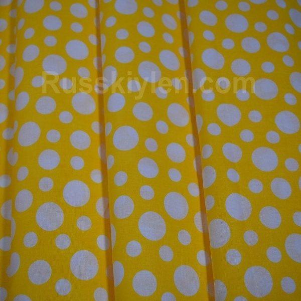 Ткань Хлопок Бязь Рис. Белый горох на желтом