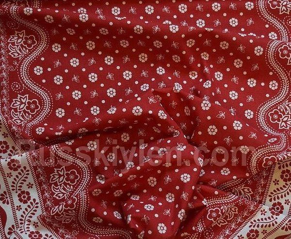 Ткань лен полулен Птица счастья красный 150 см