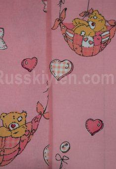 Ткань хлопок бязь Мишки Тедди на розовом