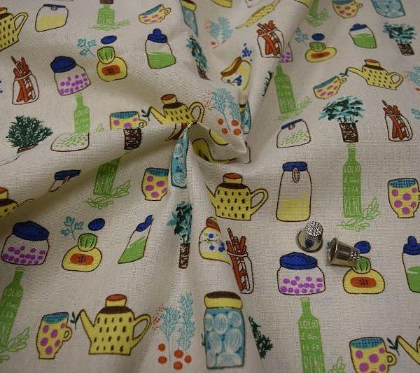Ткань лен баночки
