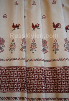 Ткань с петушками льняная