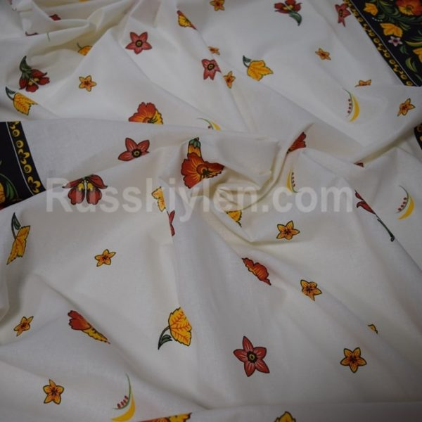 Ткань хохлома лен