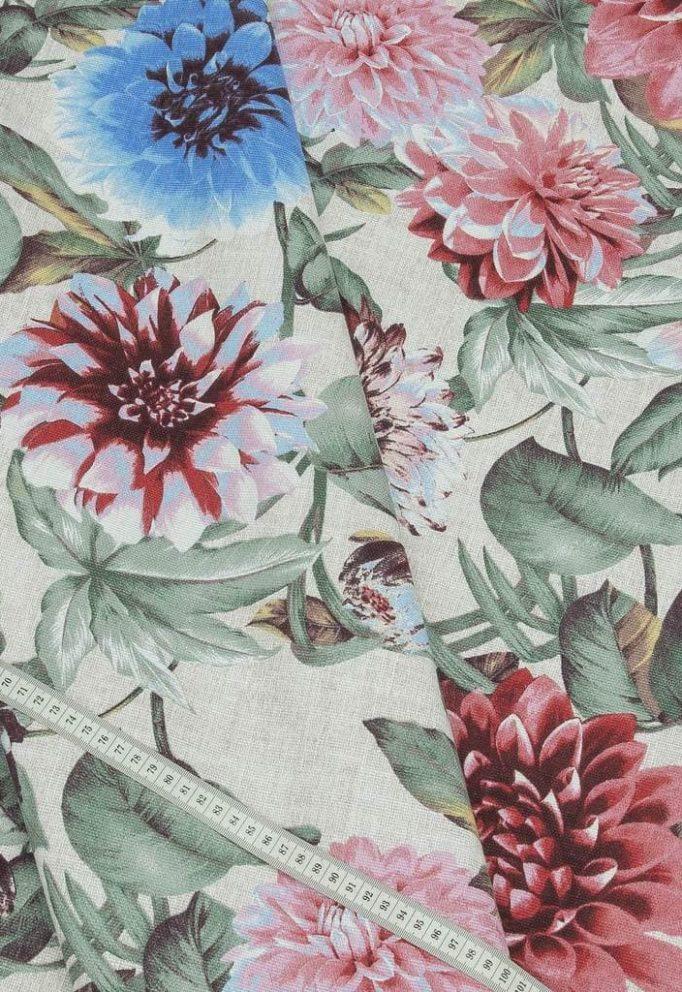 Ткань рогожка пионы