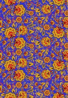 Ткань Хохлома на синем