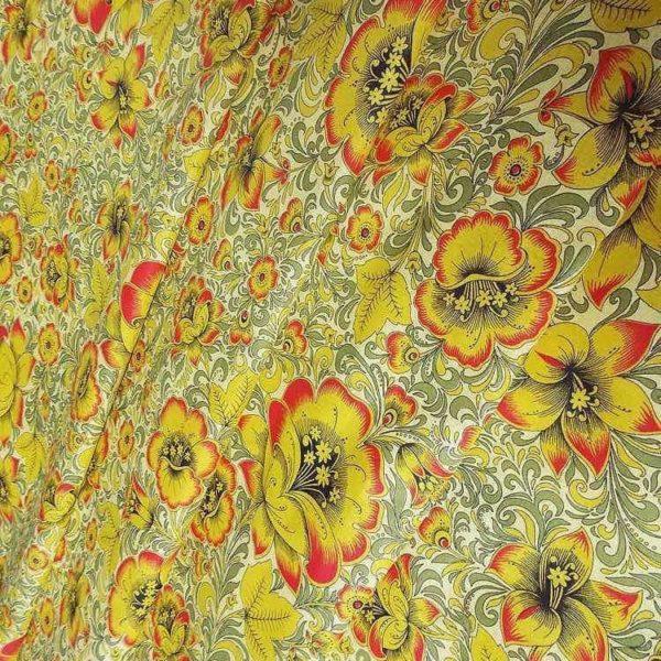 Ткань золотая хохлома
