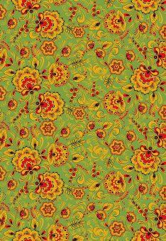 Ткань Хохлома зеленая