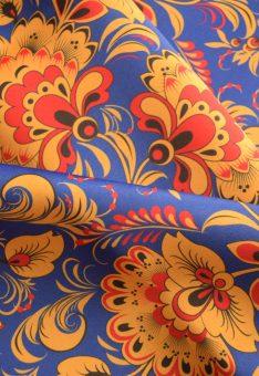 ткань хохлома синяя атлас