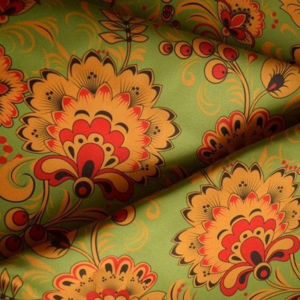 ткань хохлома зеленая атлас