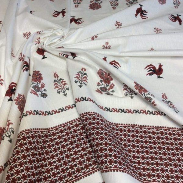 ткань лен петушки
