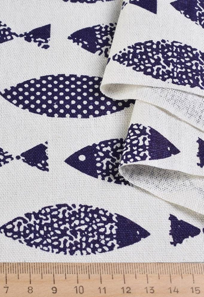 ткань лен рыбки