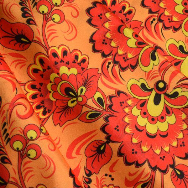 Атласная ткань хохлома