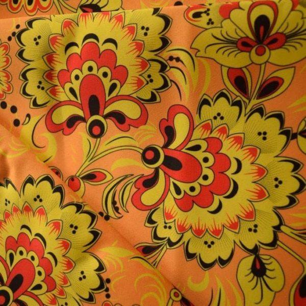 Ткань хохлома желтая атлас