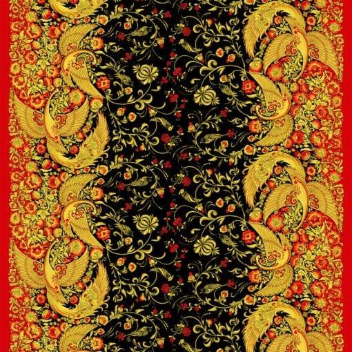 Ткань хохлома жар-птица
