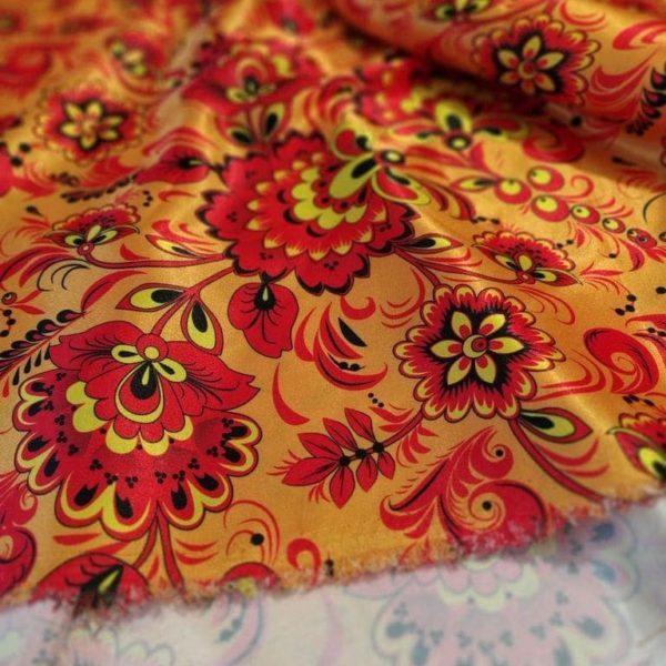 Ткань хохлома атлас