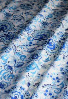 ткань гжель голубая