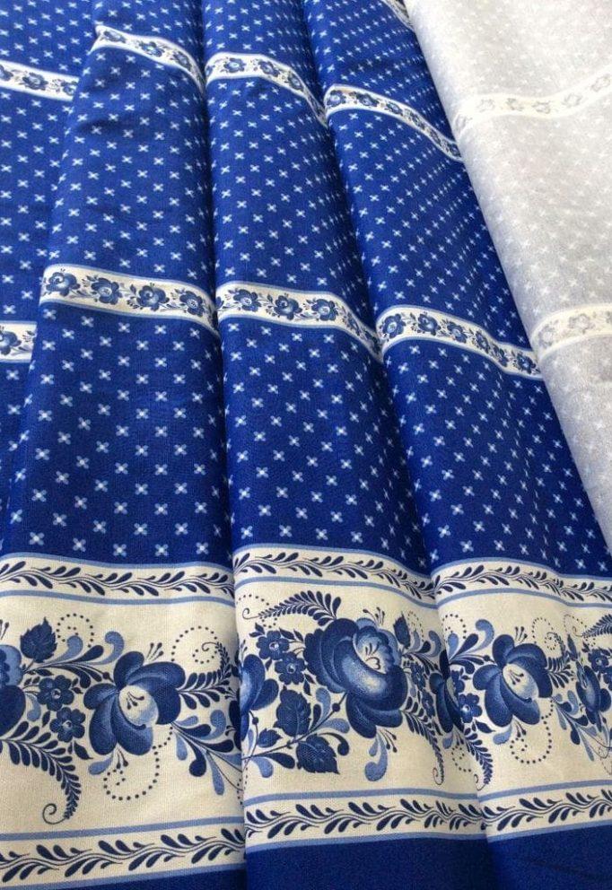 Ткань гжель синяя