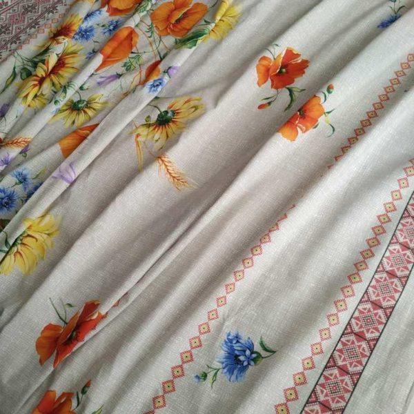 ткань вышиванка с маками