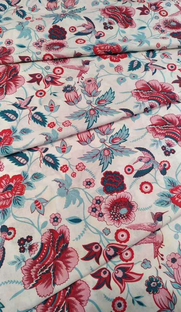ткань сказочные цветы с птичками
