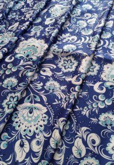 Ткань гжель синяя атлас