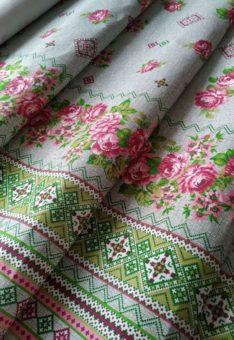 ткань вышиванка с розами