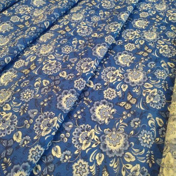 Ткань гжель на синем