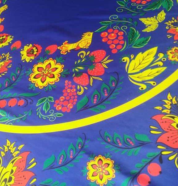 ткань хохлома синяя