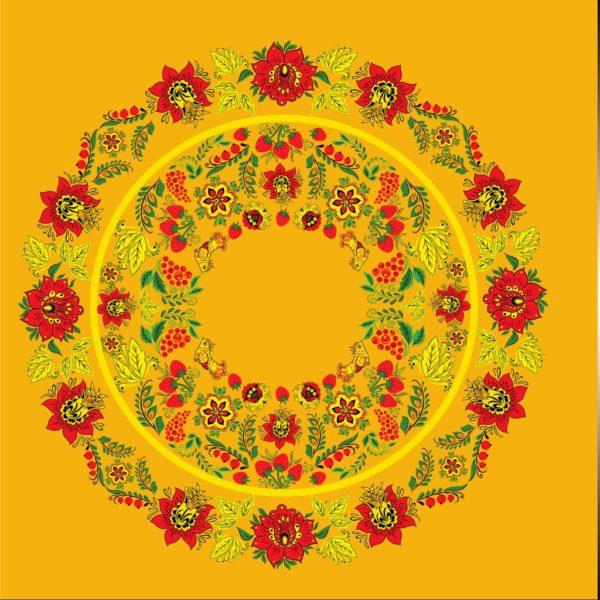 Ткань Хохлома для юбки солнце