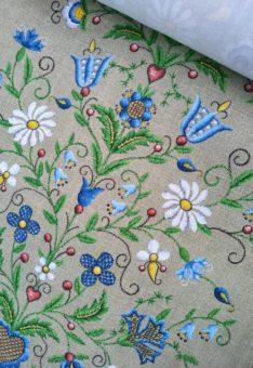 ткань с цветочной вышивкой